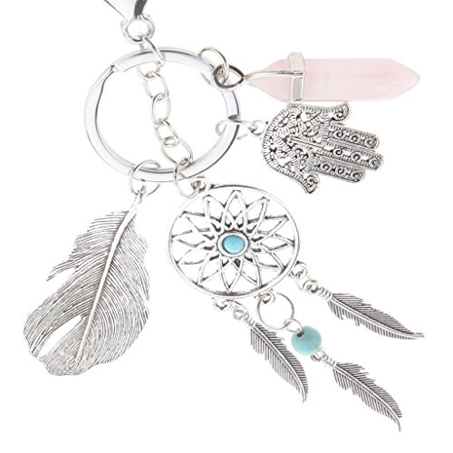 (Sharplace Mode Traumfänger Taschenanhänger Schlüsselanhänger Keyring Keychian - Silber, Rosa)