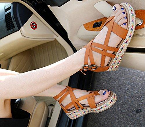 Wealsex sandalen damen plateau sommerSchuhe Braun