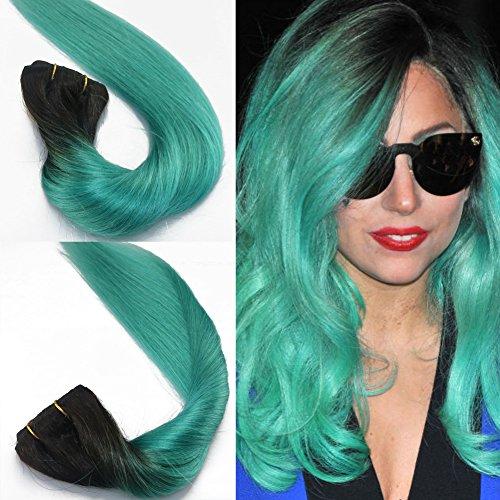 40,6 cm 45,7 cm 50,8 cm Ombre Extensions de cheveux clip en deux couleurs Noir au Vert soyeux droites