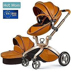 Star el mismo párrafo,Hot Mom Cochecito de Bebe 2018 - Sillita de paseo 3 en 1 Multifuncional Sistemas de viaje,buenos amortiguadores, asiento regulable en altura, multi-ángulo ajustable, reversible,color marrón,Obtener:Baby bed Rail