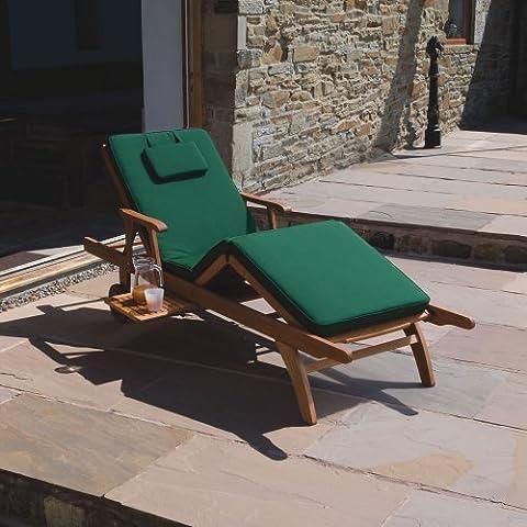 Trueshopping Amalfi de jardin/terrasse en bois-ajustable-inclinable-chaise longue Chaise longue avec coussin Entretien facile Vert Foncé Tissu imperméable