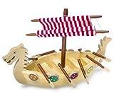 Wikingerschiff aus stabilem Massivholz mit Stoffsegel und steckbaren Rudern sowie Schilden, sehr aufwendig gearbeitet, perfekt geeignet für Biegepüppchen, ganz großer Spielspaß für kleine Abenteurer ab 3 Jahren