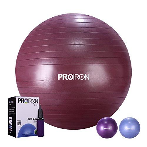 PROIRON Ballon de Fitness Suisse Epais Exercice de Yoga Gym Stabilité Anti-explosion avec Pompe à Main 65cm/75cm