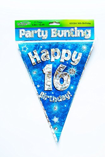 Happy 16th Birthday Flag Bunting Age Boys Blue Pennant Banner Party Decorations