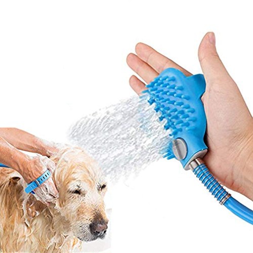 Ruimada Haustier-Baden/Pflegen-Werkzeug-Hundedusche-Sprüher mit Bürste mit AN/AUS-Schalter für Hund und Katze, die mit Massagebürste 3 Schlauch, Innen-/Außengebrauch-Bad pflegen