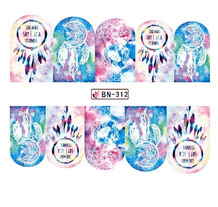 Pegatina De Uñas Atrapasueños Pegatinas De Uñas Nail Art Tatuajes De Transferencia De Agua Polaco Manicura Cubierta Completa Wraps Decoración 5.2X6.3Cm 6 Unid