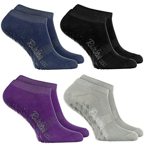 Rainbow Socks 4 Paar Kurze ANTIRUTSCH-Socken by Baumwollereiche STOPPERSOCKEN, ideal für: Glatte Fußböden Yoga Trampolinspringen SCHWARZ VIOLETT GRAU BLAU 39/41 Oeko-Tex-Zertifikat, Made in EU