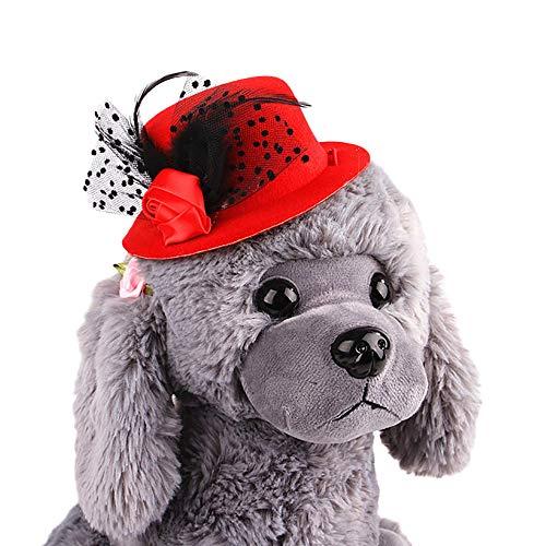 Clluzu Hund Hut Haustier europäischen Hüte Gentleman Damen Katze Tiara hübsche Feder Dekoration für Party Geburtstag 5,07 * 1,95