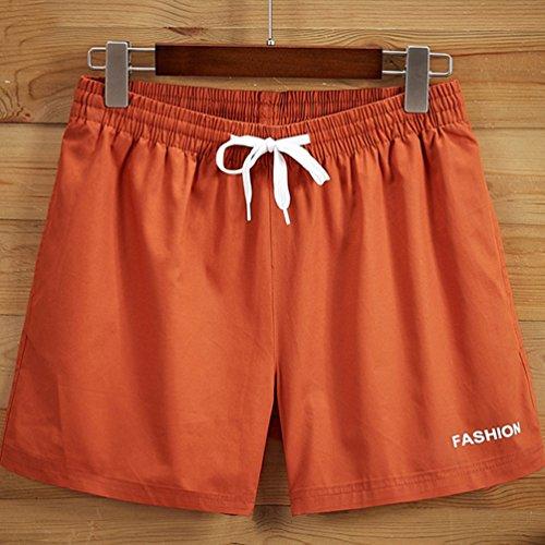 YuanDian Herren Sommer Freizeit Gummizug Kordelzug Sport Kurz Badeshorts Fashion Coole Strand Shorts Surf Boardshorts Schwimmshorts Orange Rot