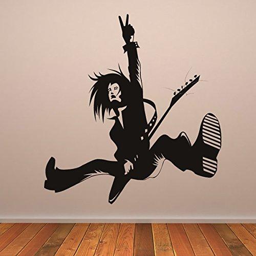 Rock-Gitarrist-Durchfhren-Musiker-Band-Logos-Wandsticker-Musik-Kunstabziehbilder-verfgbar-in-5-Gren-und-25-Farben-Gro-Helles-Blau