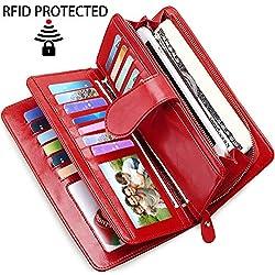 Gran Capacidad Cartera de Cuero de Mujer, Bloqueo RFID Monedero de Piel para Señora con 26 Ranuras de la Tarjeta, Larga Billetera de Mujer con Bolsillo de Cremallera y Correas de Muñeca (Rojo)