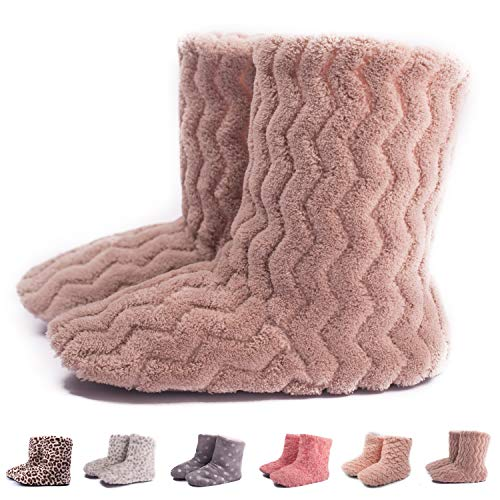 TWINS Fashion « Montreal » weich & warm gefütterte Damen Hütten-Schuhe I Stiefel I Slippers I Fleece Plüsch - Rutschfeste hohe Hausschuhe Winter (36/37, Beige)