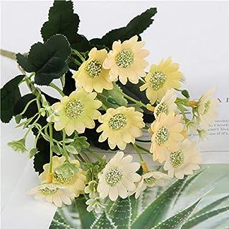 iUcar Pequeño Fresco Milán Crisantemo Flor de Margarita Artificial Flor de Bricolaje Decoración para el hogar Amarillo