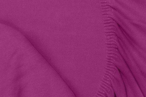 Double Jersey - Spannbettlaken 100% Baumwolle Jersey-Stretch bettlaken, Ultra Weich und Bügelfrei mit bis zu 30cm Stehghöhe, 160x200x30 Aubergine - 7