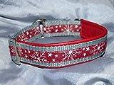 Hunde Halsband Schneekristalle Bordeaux Weiß