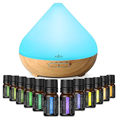 Anjou Aromatherapy Essential Oil & Diffuser Gift Set, 300 mL Tank & Top 12 Oils, Lavender, Peppermint, Tee Tree, Eucalyptus, Sweet Orange, Auto Off Humidifier - 7 Color LED Lights, Therapeutic Grade