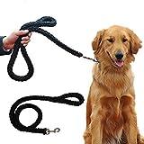 Mr.Dog Dick Premium Hundeleine in Schwarz/Grün für große und kräftige Hunde | Hundeführleine Stärkste Weave Klassische Hundeleine mit Griff Passende Kragen Separat Erhältlich (Schwarz)