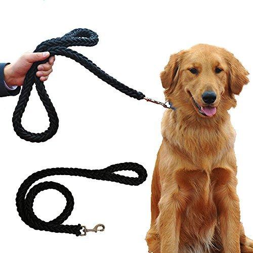 Mr.Dog Dick Premium Hundeleine in Schwarz/Grün für große und kräftige Hunde   Hundeführleine Stärkste Weave Klassische Hundeleine mit Griff Passende Kragen Separat Erhältlich (Schwarz) (Große Konturierte Sitz)