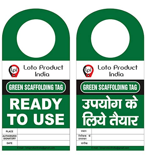 Loto Product India lockout Tagout scaffolding Green tag Ready to Use Set of 10