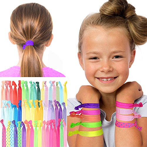 REGALO DE COLETEROS SIN PLIEGUES PARA CHICAS: 50 bandas para el pelo coloridas, gomas elásticas, coleteros en dibujos y colores llamativos. Accesorios para el cabello ideales para chicas.