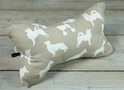 Lesekissen Leseknochen Strandkissen Yogakissen Nackenkissen Hunde Dogs beige weiß 40 x 20 x 20 cm von Beletage HM