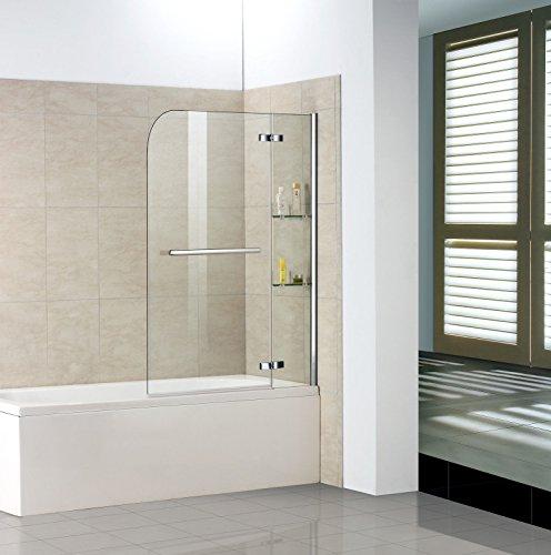 120x140cm Duschabtrennung Duschwand Badewannenaufsatz Badewannenfaltwand mit Handtuchhalter Eckregal H2S-HB12