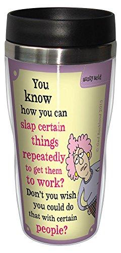 'Aunty Acid taza de viaje, con forro inoxidable vaso de café 16-ounce bofetada repetidamente sg78397, divertido regalos para oficina compañeros Tree-Free Greetings