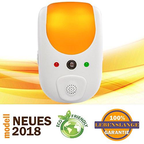 ZenJäger 2018 Ultraschall- & Elektromagnetischer Schädlingsbekämpfer - Automatisch Nachtlicht - Wirksam gegen Kakerlaken, Spinnen, Moskitos, Mäuse, Bettwanze