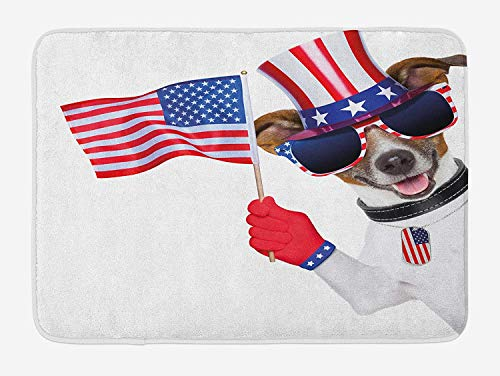 tgyew 4th of July Bath Mat, Patriotic American Breed Dog Celebrating with Flag Hat and Old Glory Dog Tag, Plush Bathroom Decor Mat with Non Slip Backing, 23.6 W X 15.7 W Inches, Multicolor