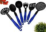 Lantelme Küchenbesteck Küchenhelfer Set 6 teilig Küchenutensilien Kunststoff hitzeresistent in schwarz blau 4857