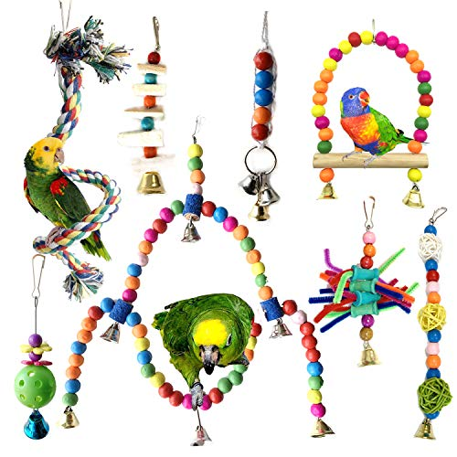 PietyPet Vogelspielzeug, 8 Stück Bunten Papageienspielzeug Vögel Spielzeug Holz Sitzstangen Plattform, Schaukel, Sitzplatz, Holz Leitern für Sittiche, kleine Vogel Papageien