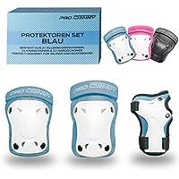 PRO IDENTITY Knieschützer, Ellenbogenschoner & Handgelenkschoner Set inkl. Tasche - Inliner Protektoren Schutzausrüstung für Kinder mit Knieschonern (pink, blau & schwarz)