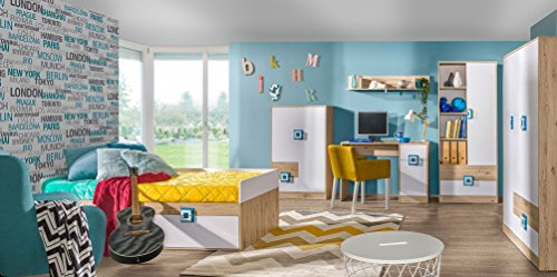 Kinderzimmer Komplett - Set D Fabian, 6-teilig, Farbe: Eiche Hellbraun/Weiß/Blau
