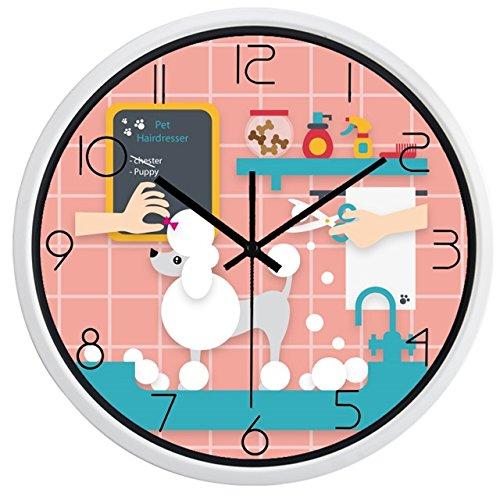 OLILEIO Nouvelle horloge murale Design Pet Shop Chien Chat Boutique Cercle réveil,B280W,12 pouces