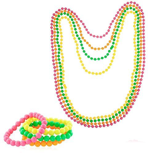 Islander Fashions Neon Perlen Halskette und Armband der 1980er Jahre-Kostüm-Zusatz Helle Rave-Abendkleid