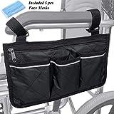 Rollstühle Zubehör Rollstuhltasche Aufbewahrungstasche - Rollstuhl Tasche für Rollstuhlarmlehnen, Wasserdichte Tragbare Rollertasche mit 4 Fächern, Schwarz