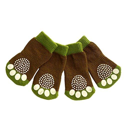 Hunpta 4Pcs Haustier Hund Katze Baumwolle Anti-Rutsch stricken weben warme Socke Skid unten (XL, Grün) (Socke Unten)