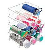 mDesign Stackable Water Bottle Holder - Refreshing Water Bottle Storage - 3 Bottles x 4 Racks for Water, Juice, Soft Drinks, Et in your Fridge, Pantry or Cabinets - Kitchen Accessories - Clear