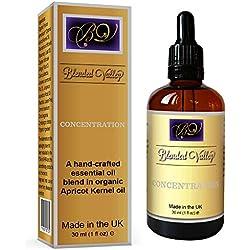 Aromatherapie Öl für Fokus und Konzentration - Für Aroma Diffuser, Ölbrenner. Ätherische Öle im Aprikosenkernöl. Zur Verbesserung der kognitiven Funktion, des Gedächtnisses und der Wachsamkeit.