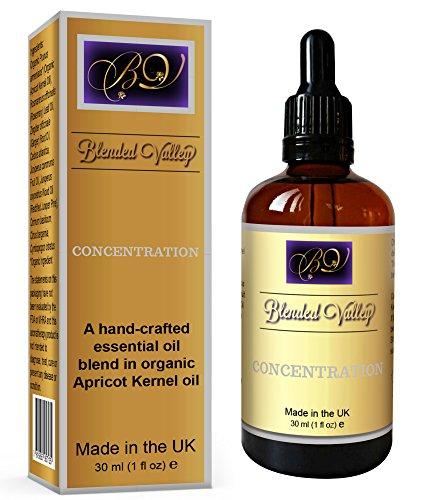 Blended Valley Öl für Fokus und Konzentration - Naturreine Duftöl Für Aroma Diffuser, Luftbefeuchter - Für Aromatherapie, Wellness - Ätherische Öle Verbesserung des Gedächtnisses und der Wachsamkeit