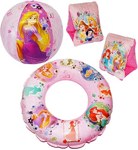 Disney Princess-2 Stück (4 tlg. Set _ Schwimmflügel & Schwimmring & Strandball - aufblasbar -
