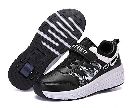 FZ FUTURE Kinder Schuhe mit Rollen, Skateboardschuhe mit Rollen, Drucktaste Einstellbare Skateboardschuhe für Kinder Mädchen Junge Erwachsene,Black,42