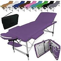 Vivezen Table de massage pliante 3 zones en aluminium + accessoires et housse de transport - Neuf coloris - Norme CE- Violet