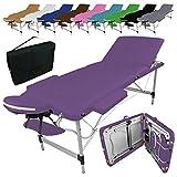 Vivezen  Table de massage pliante 3 zones en aluminium + Accessoires et housse de transport - 10 coloris - Norme CE