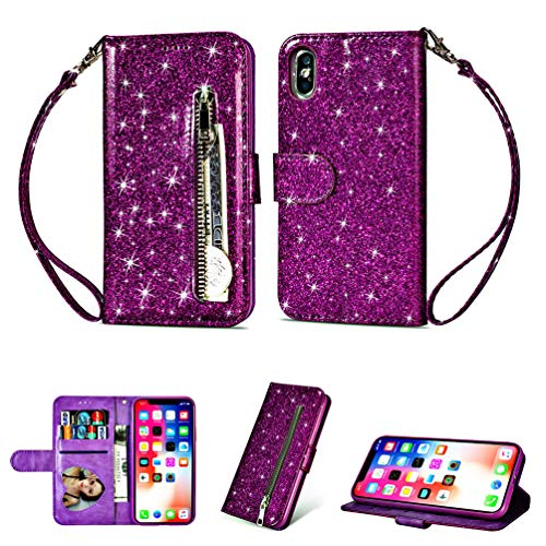 Coque iphone X, Housse en Cuir LaVibe PU Leather Etui Portefeuille à Rabat Glitter Clapet Support Fermeture éclair Porte Video Stand, Flip Wallet Protective Case Cover-Violet