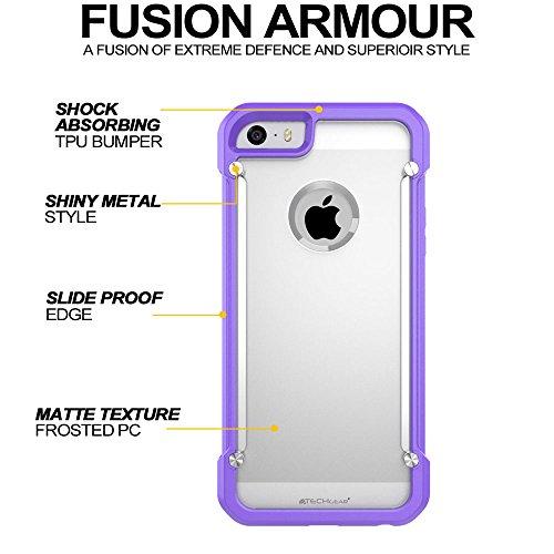 Coque Apple iPhone SE, TECHGEAR® iPhone SE 5s 5 [FUSION ARMOUR] Coque Protective Svelte Anti-Choc (Blanc/Givré) VIOLET/GIVRÉ (FUSION ARMOUR)