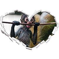 cucciolo di Orangutan mangia a forma di cuore in formato adesivo aspetto, parete o una porta 3D: 62x43.5cm, autoadesivi della parete, decalcomanie della parete, decorazione della parete