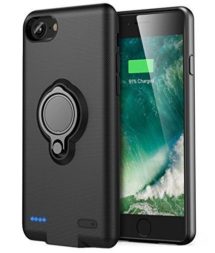 iPhone 6 Plus/6s Plus Akku Hülle - Veepax Premium 7200mAh Tragbarer Ladekoffer Verlängerte wiederaufladbare Power Bank mit Ringhalter Ständer für Apple iPhone 6 Plus/6s Plus (5.5 Zoll) - Schwarz (Iphone Battery Apple Case 6)