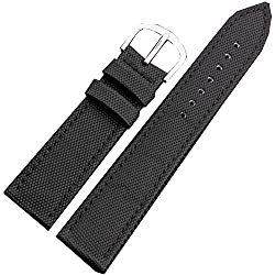 Black canvas leather watch band strap 22mm genuine stainless steel buckle Waterproof