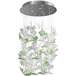 tredici Diseño Murano cristal iluminación de Edo en hojas plata | hecho a mano en Italia | lámpara | lámpara colgante LED